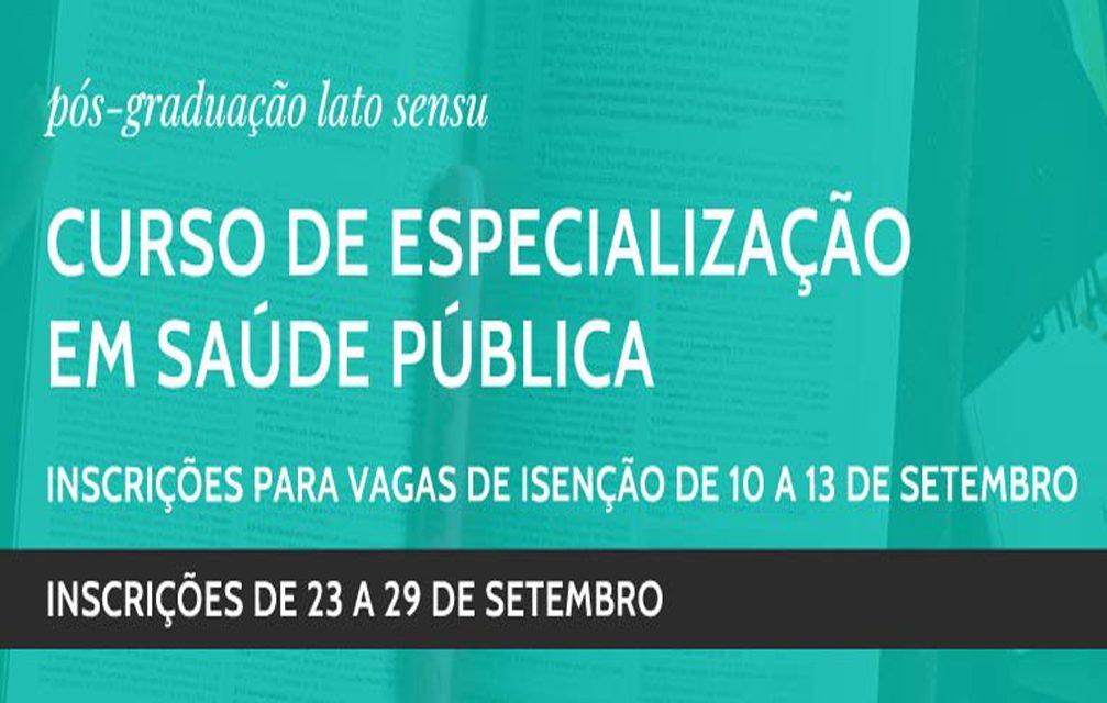 23 a 29/9: Inscrição para Pós de Especialização em Saúde Pública