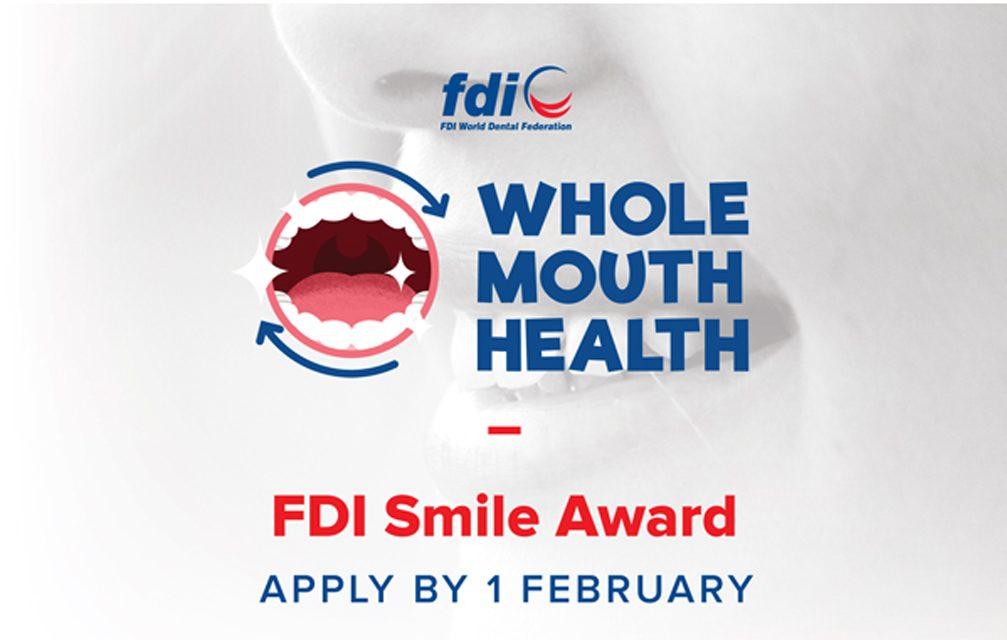 Associações odontológicas: inscrições até 1º/2 para o Prêmio Sorriso da FDI
