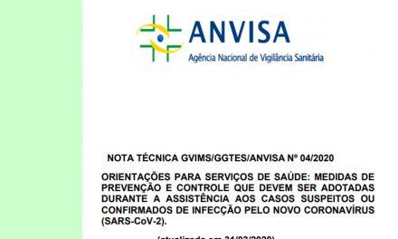 Anvisa atualiza a Nota Técnica sobre prevenção do Covid-19 em atendimentos
